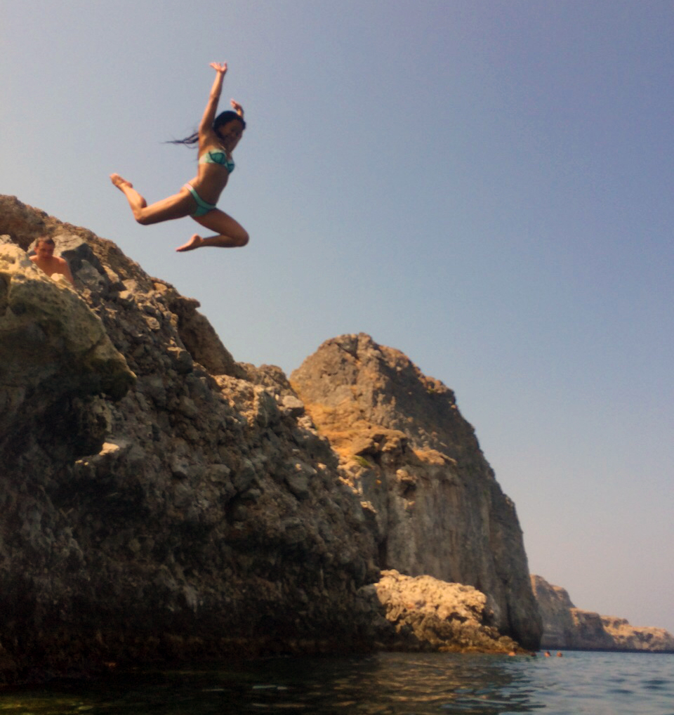 Splashing around in St Paul's Bay, Rhodes