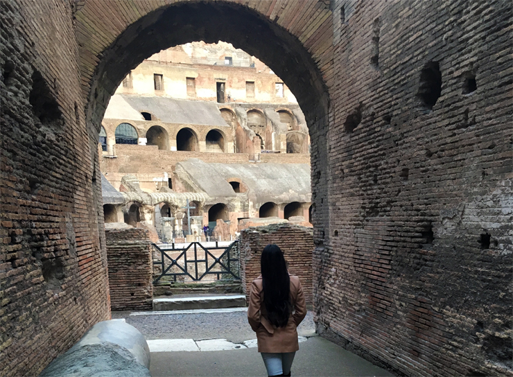 Walking into the arena of the Colosseum