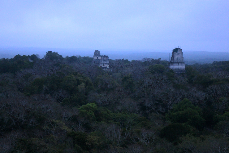 Tikal Temple III with Temples I and II beyond