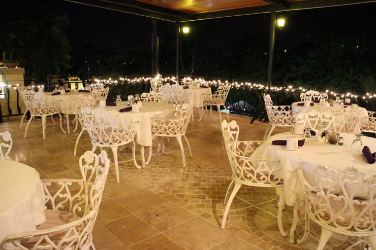 The San ignacio retsort hotel terrace by night