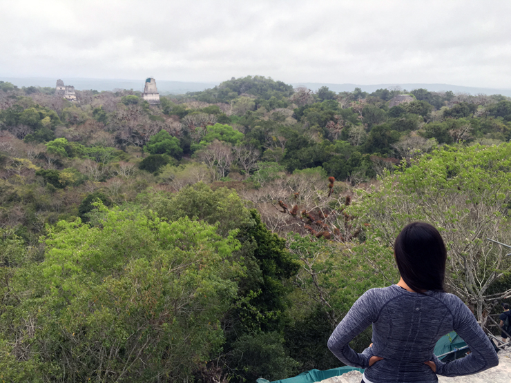 Admiring the view over Tikal