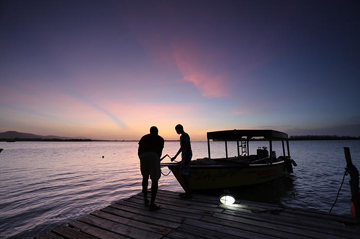 Michael preparing the Lady Jem Boat on the Luminous Lagoon