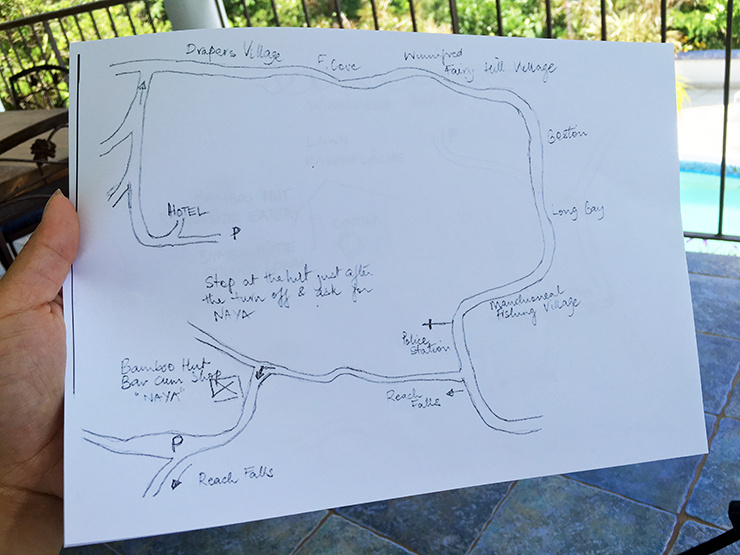 A hand drawn map from Hotel Mocking Bird Hill