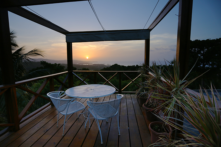 The Perch at sunset, Hotel Mocking Bird Hill