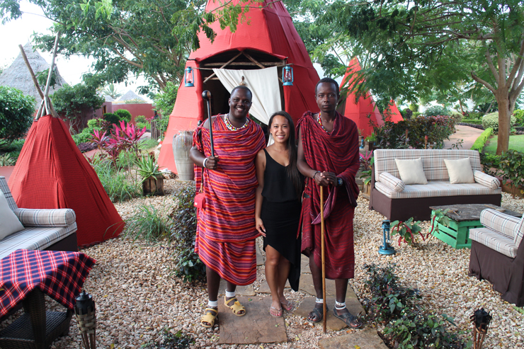 With Masai warriors